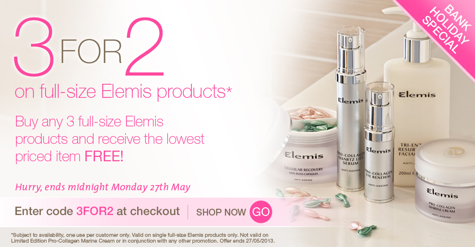 3 for 2 on full-size Elemis products