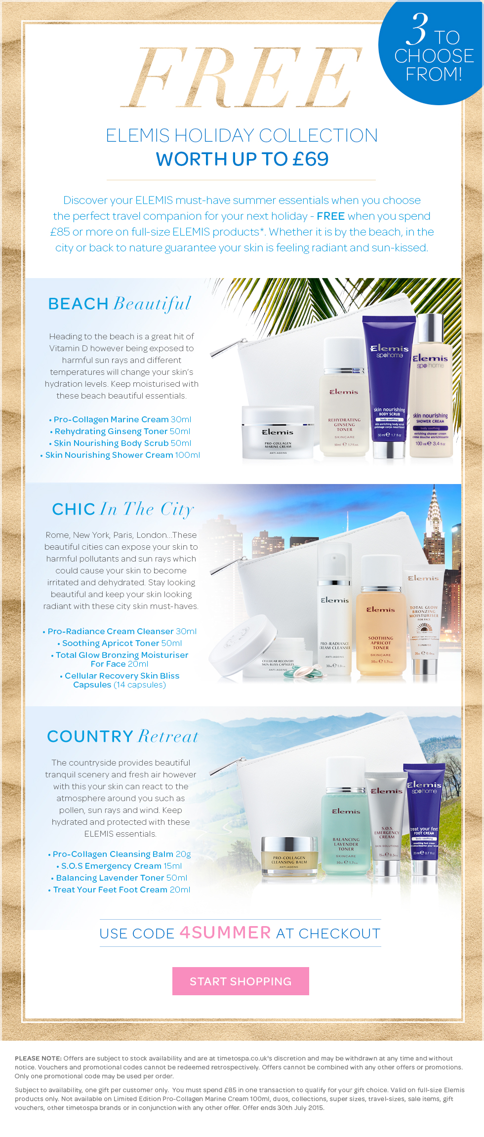 Free ELEMIS Summer Holiday Gift Set Worth Up To £69