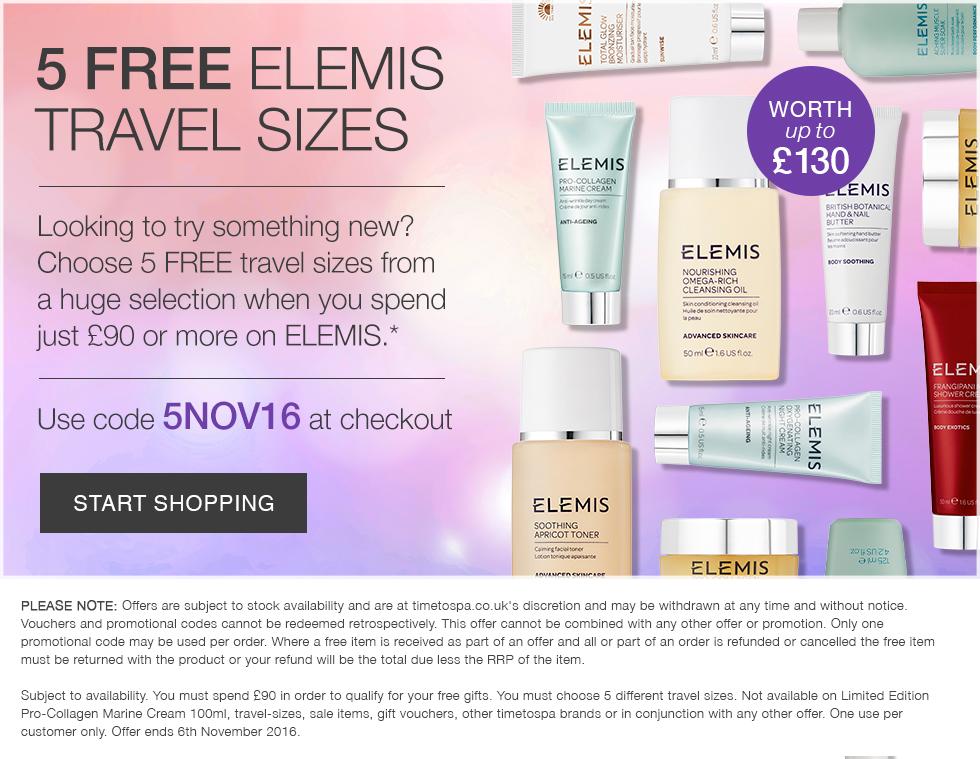 5 Free ELEMIS Travel Sizes - Worth £130