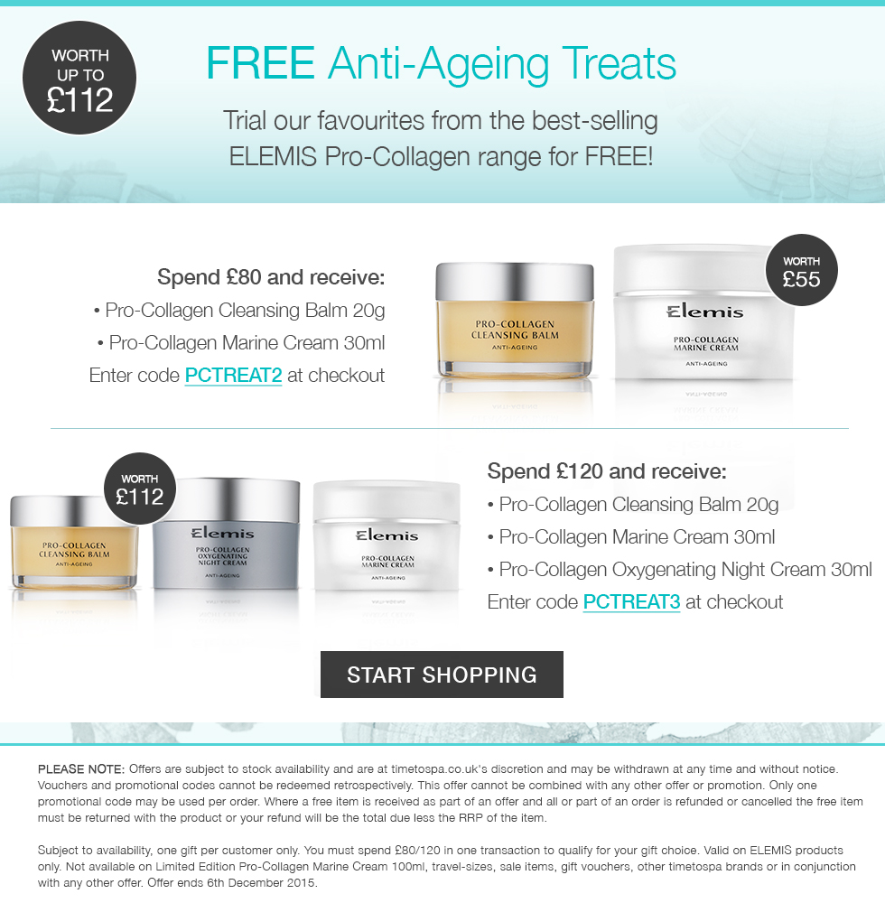 FREE ELEMIS Pro-Collagen offer anti-ageing treats woth up to £112 - Timetospa Uk offers