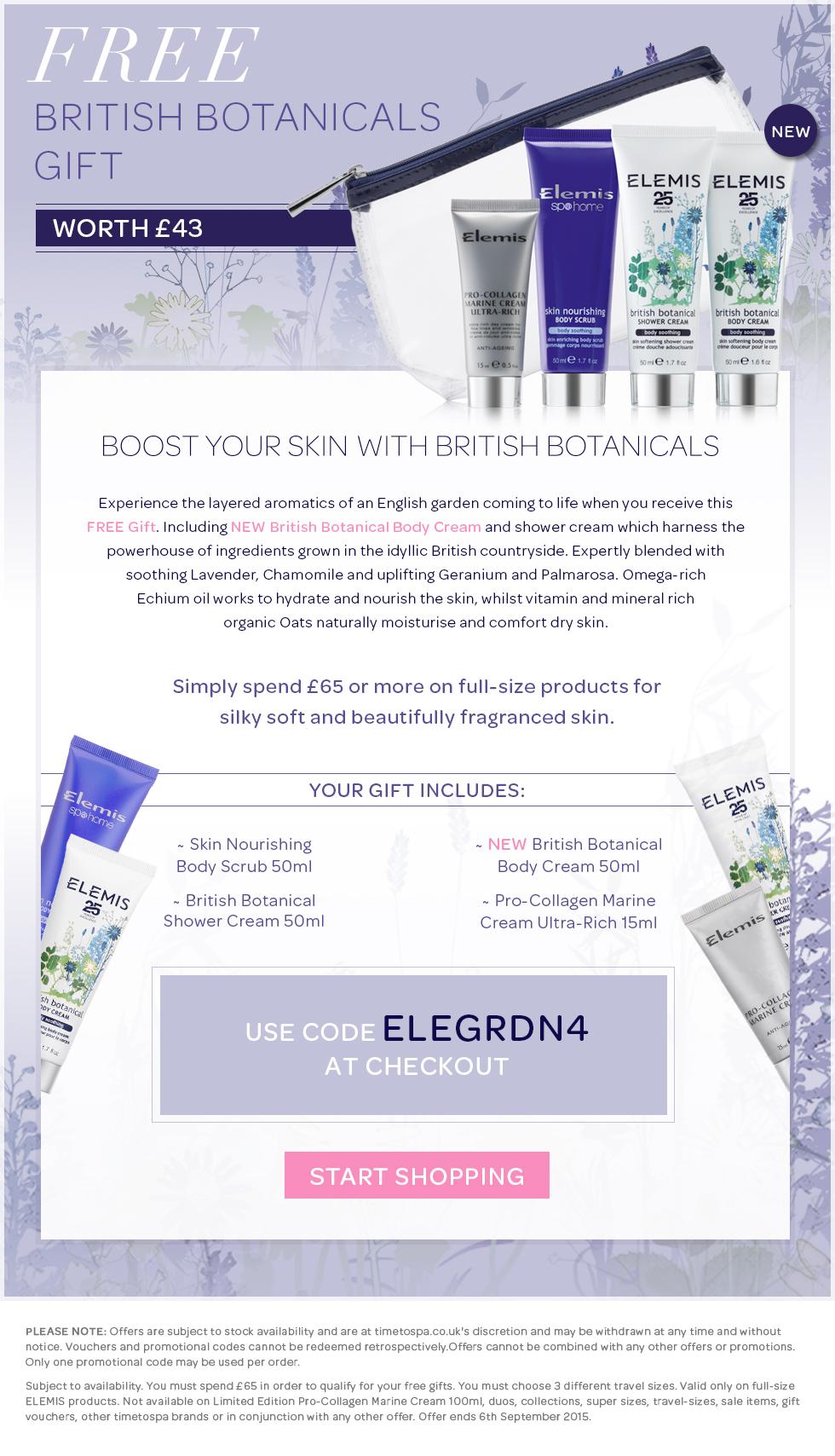 FREE ELEMIS British Botanical Body Cream – when you spend £65 or more
