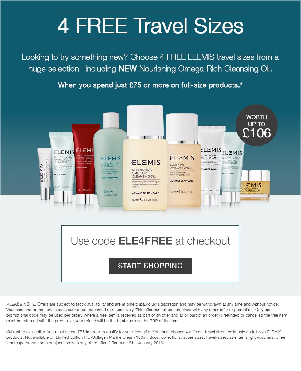 3 FREE ELEMIS Travel Sizes Moisturiser worth up to £106 when you spend £75
