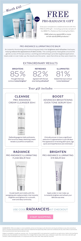 FREE ELEMIS Pro-Radiance Gift Worth £45 Including NEW Pro-Radiance Illuminating Eye Balm