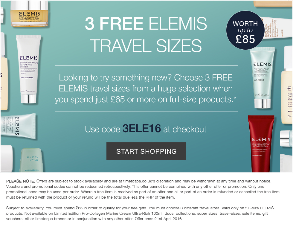 3 Free ELEMIS Travel Sizes