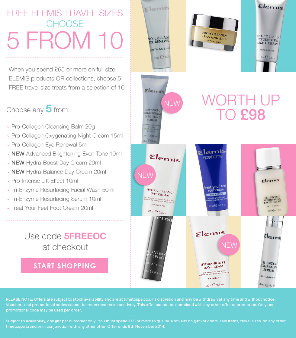 Free Elemis Travel Sizes choose 5 from 10