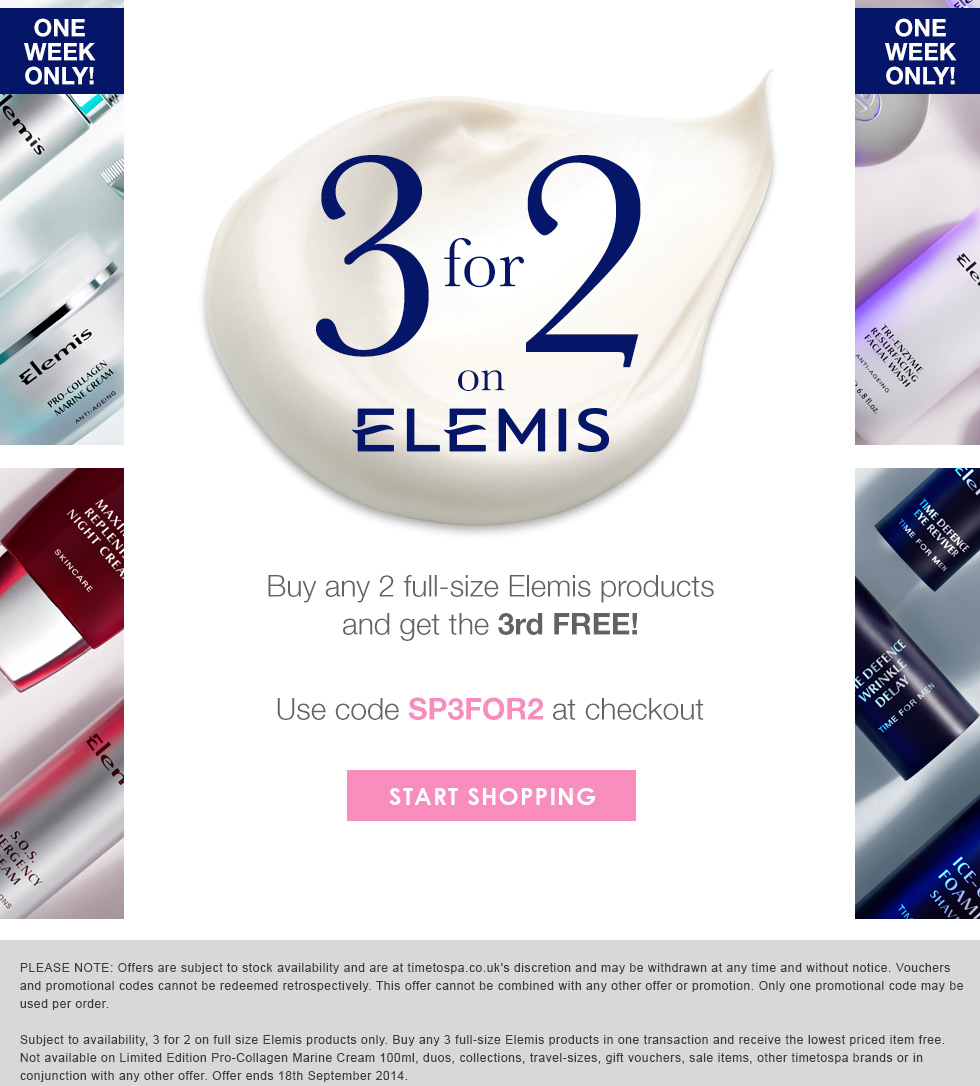ONE WEEK ONLY - 3 For 2 on Elemis