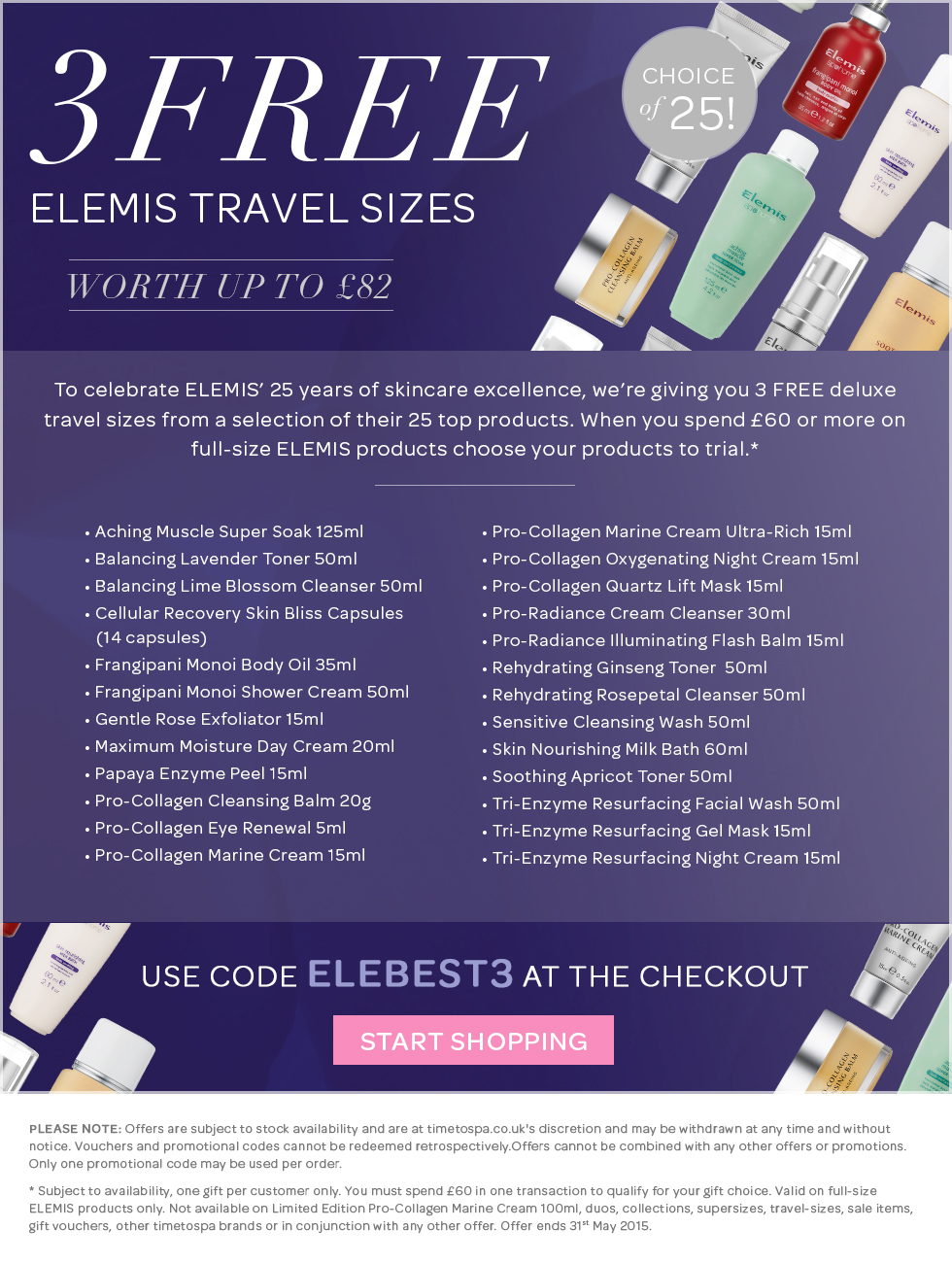 3 FREE ELEMIS Travel Sizes From 25 Best-Sellers - Worth Up To £82