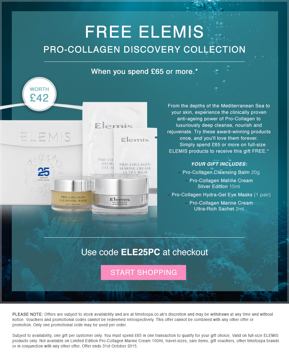 FREE ELEMIS Pro-Collagen Disovery Collection ehrn you spend £65