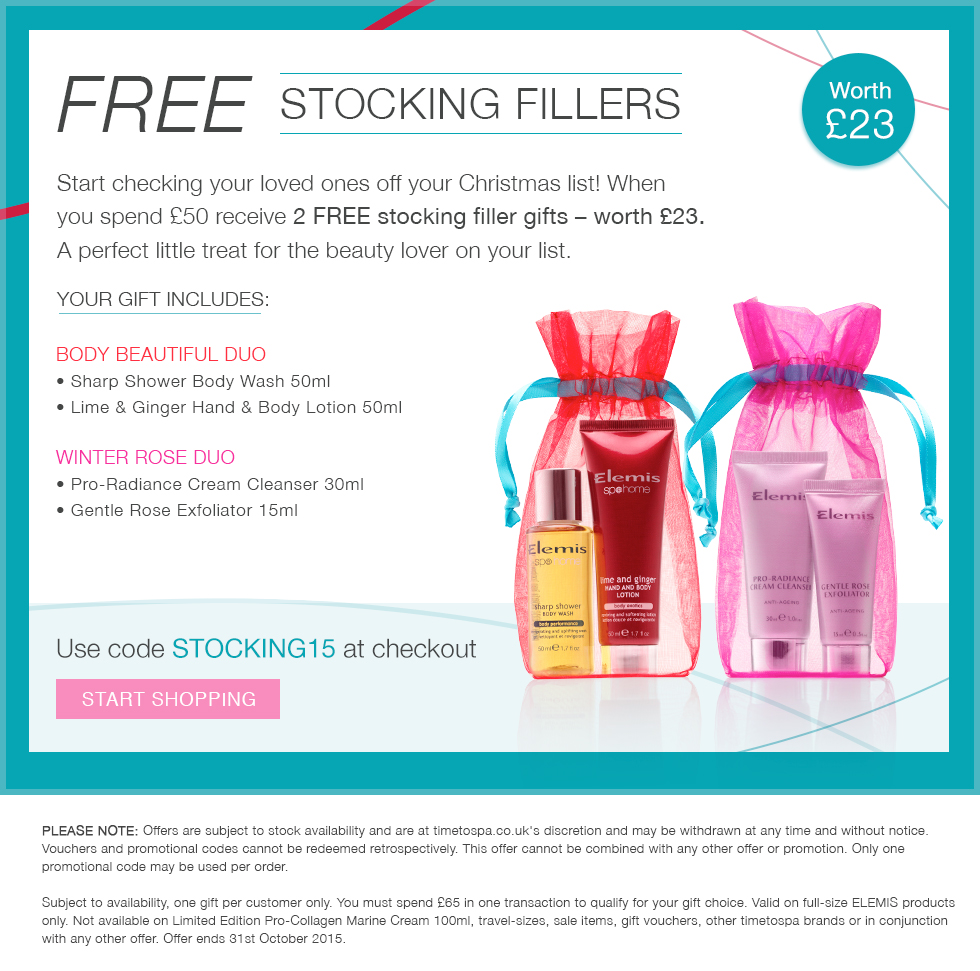FREE ELEMIS Stocking Fillers when you spend £50 or more