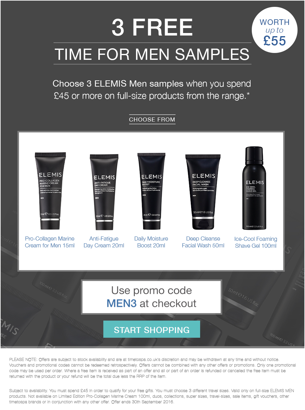 3 FREE ELEMIS Men Travel Sizes - Worth Up To £55