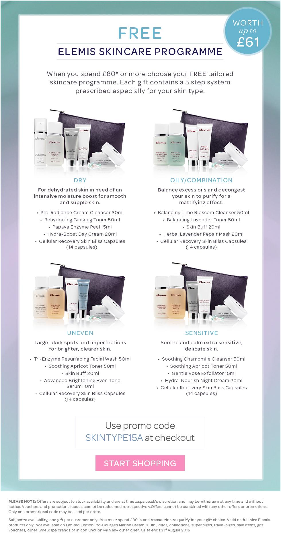 FREE ELEMIS Skintype Programme when you spend £80