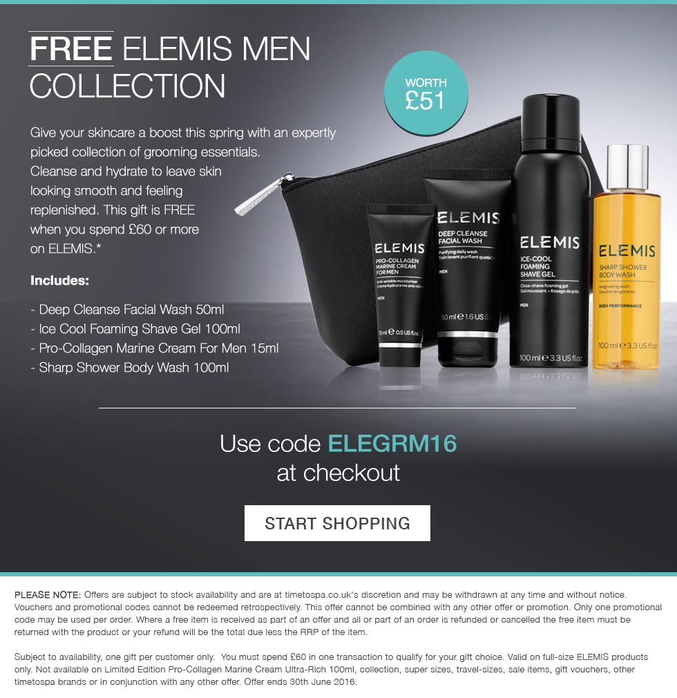 Free ELEMIS Men's collection when you spend £60 or more.