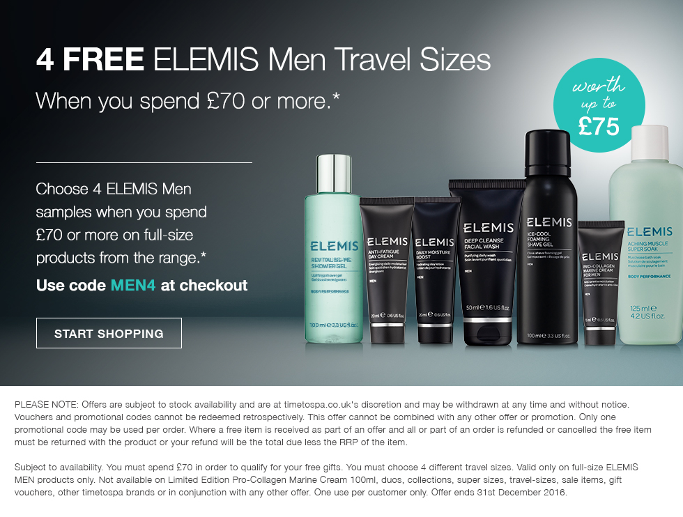 4 FREE ELEMIS Men Travel Sizes - Worth up To £75