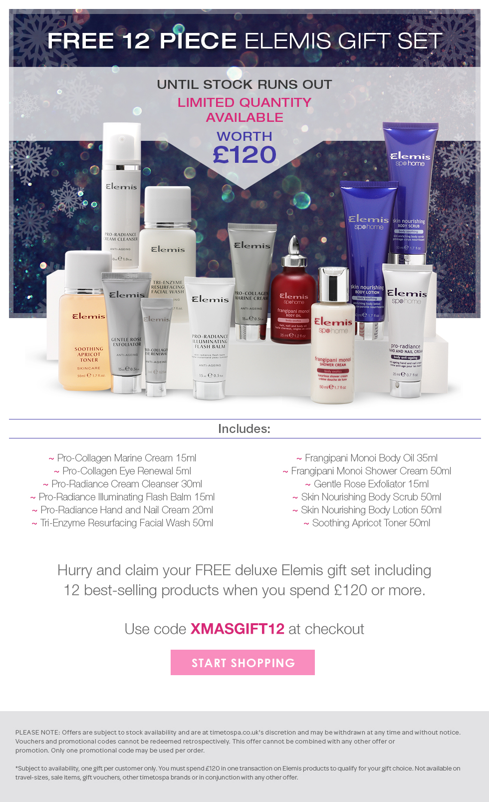 Free Deluxe 12 Piece Elemis Gift Set Worth £120
