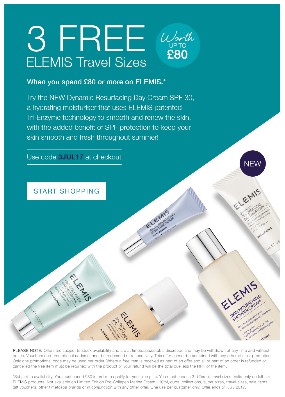 3 FREE ELEMIS Travel Sizes - Worth up To £80