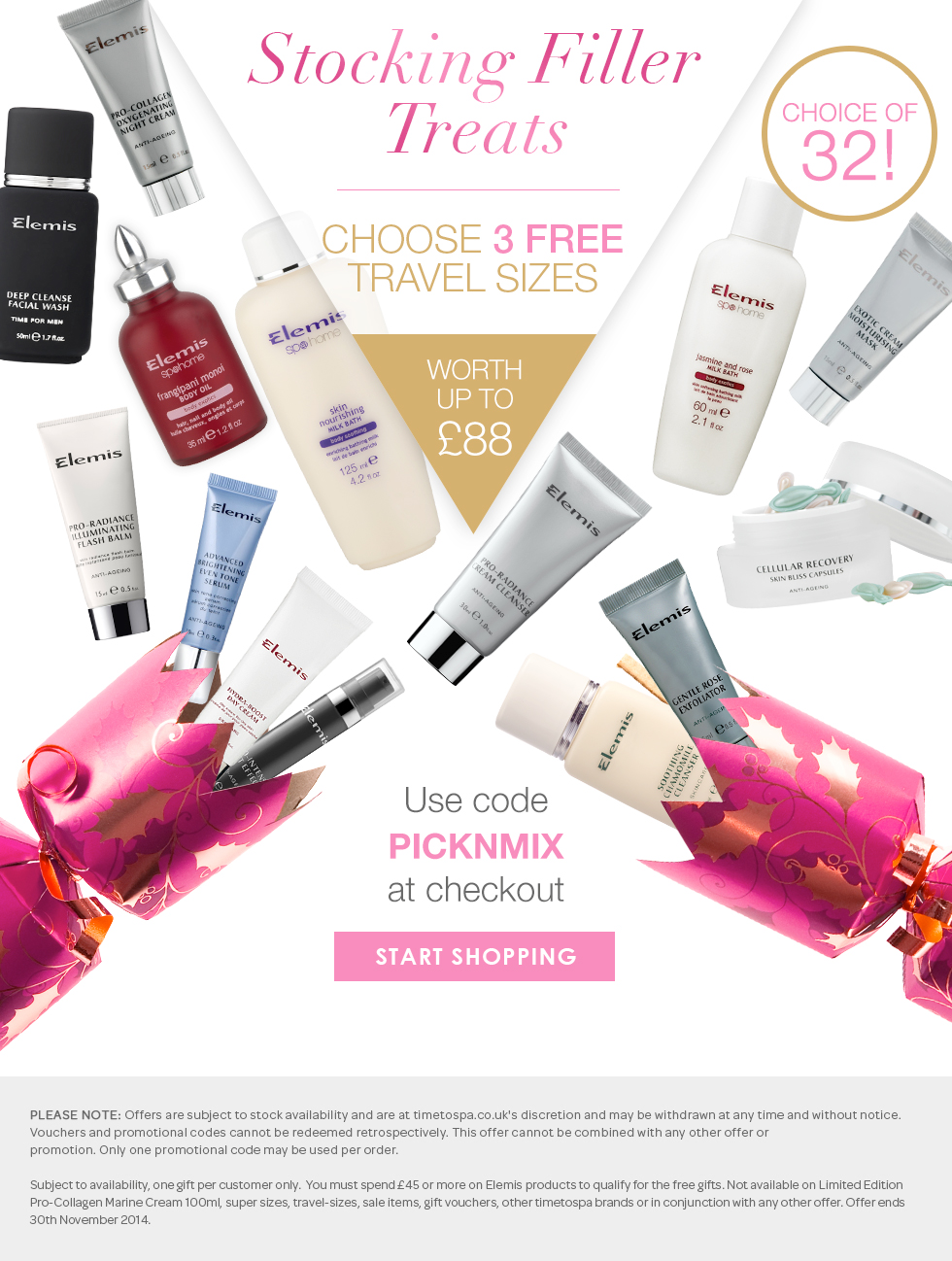 Choose 3 FREE ELEMIS travel sizes from a choice of 32 when you spend £45