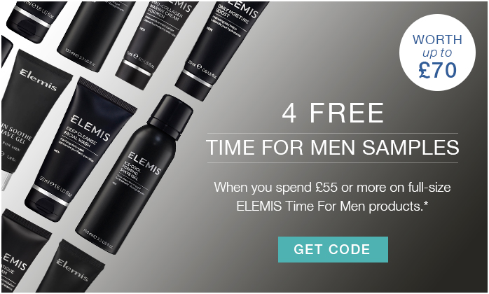 4 FREE TIME FOR MEN ELEMIS samples when you spend £55 on full size products